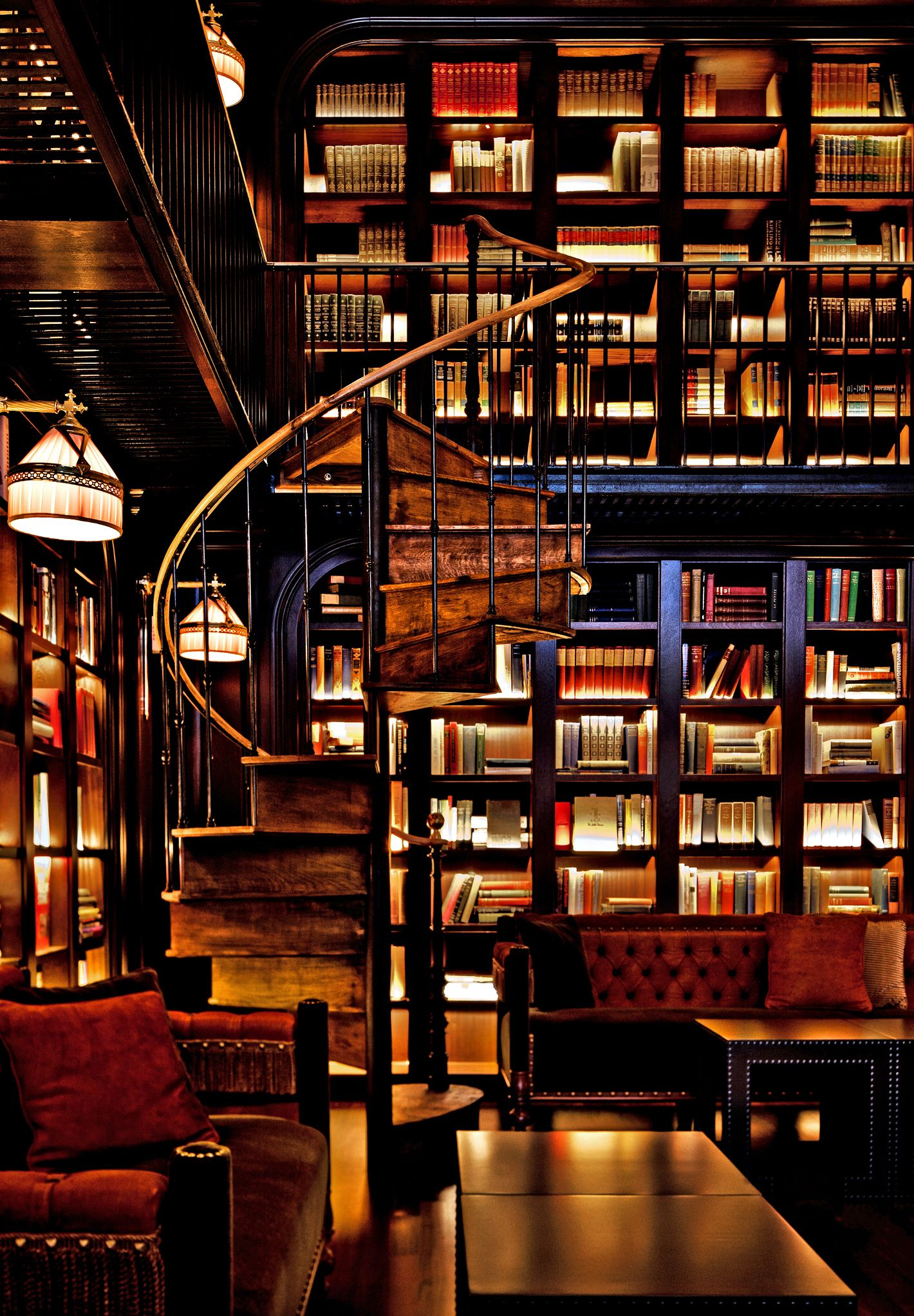 Library, Spiral Staircase, Lighted Bookcases. Is This So