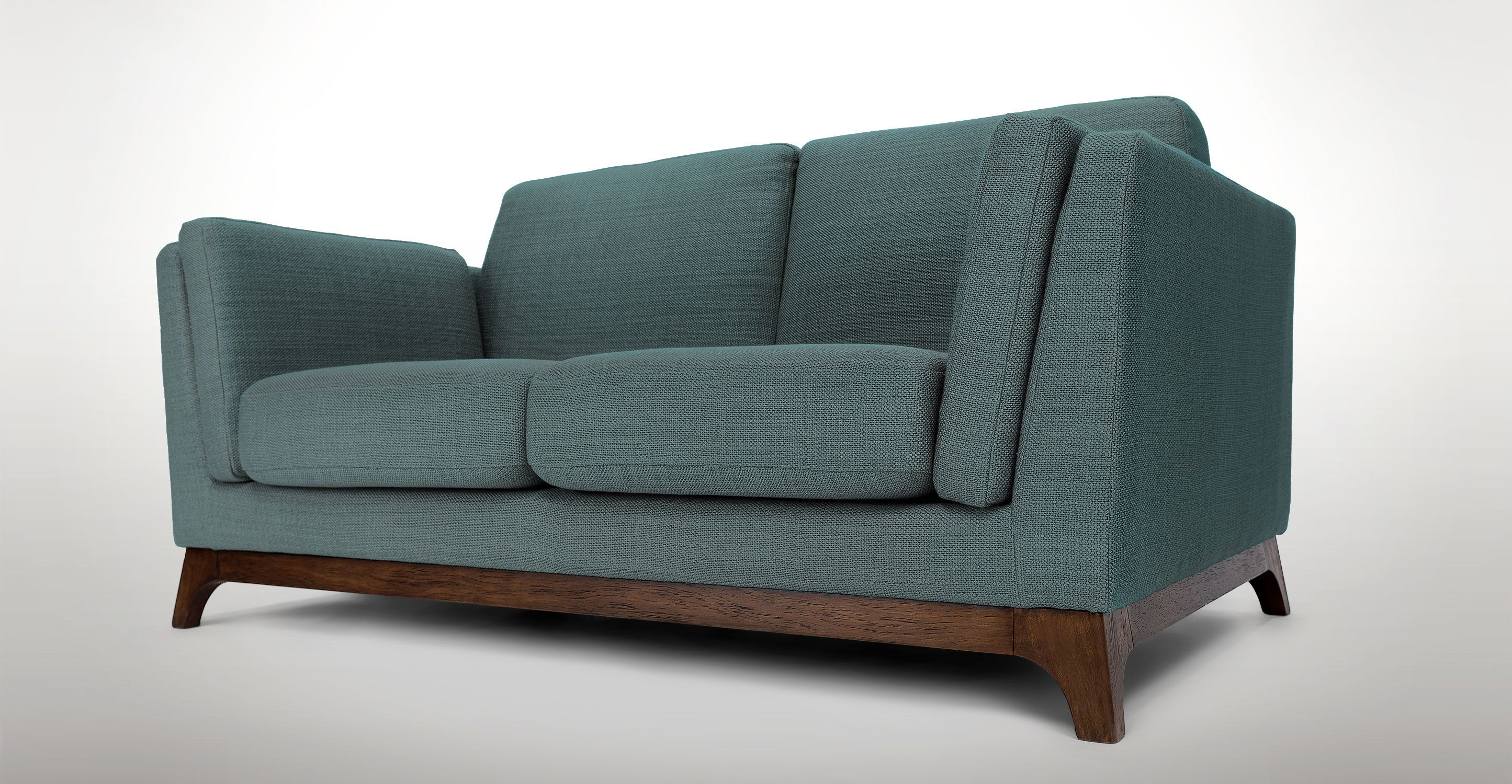 Gray Loveseat With Solid Wood Legs