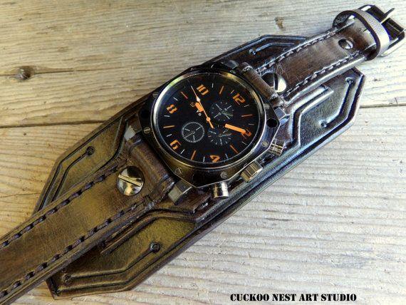 gran descuento de 2019 estilo de moda de 2019 seleccione para auténtico Reloj brazalete de cuero de los hombres reloj reloj de ...