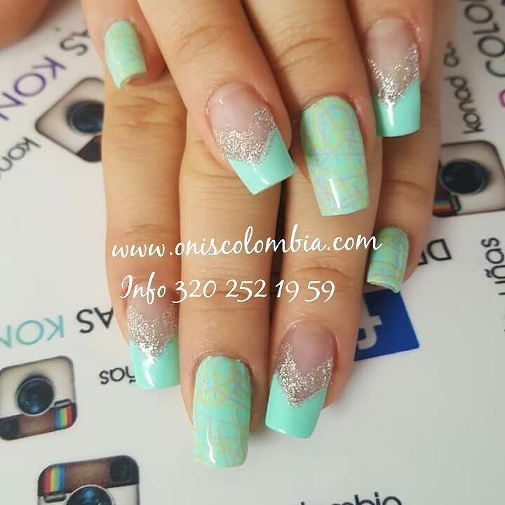 Verde menta frescura! #konad #stampingplates #nailart #manicura ...