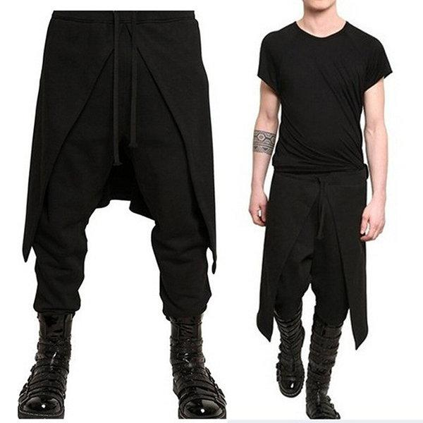 Men/'s 100/% Cotton Biker Jogger Pants Sport Casual Elastic Dance Harem Trousers