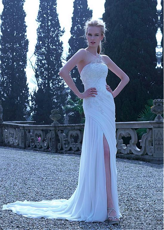 Elegant Tulle & Chiffon One Shoulder Neckline Sheath Slit Wedding ...