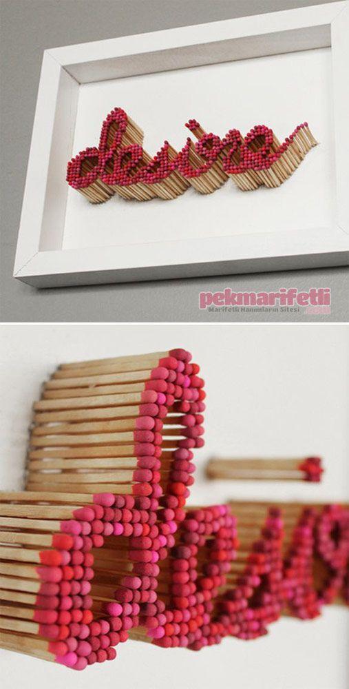 Kibritlerden dekoratif duvar süsü yapımı | süs eşyaları | Pinterest ...