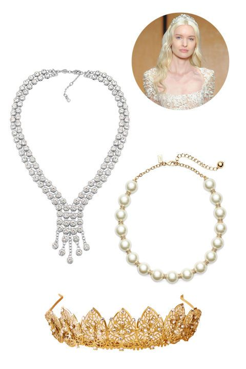 A square necklace naturally frames your chest, leaving it open for a beautiful collar necklace. Alternatively, you can make like the pictured runway look from Inbal Dror and go full-Renaissance with a detailed tiara.