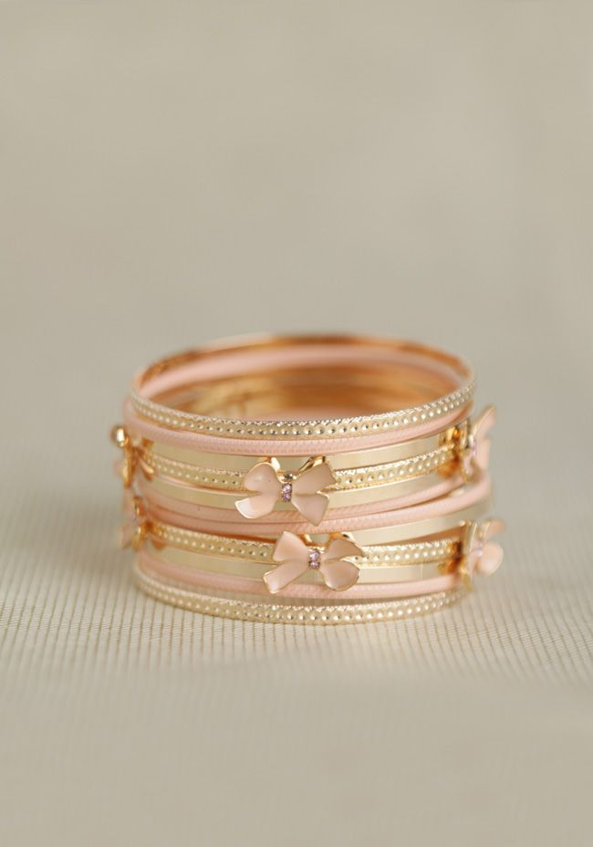 I want! Sealed With A Bow Bangle Set In Pink at #Ruche @Ruche