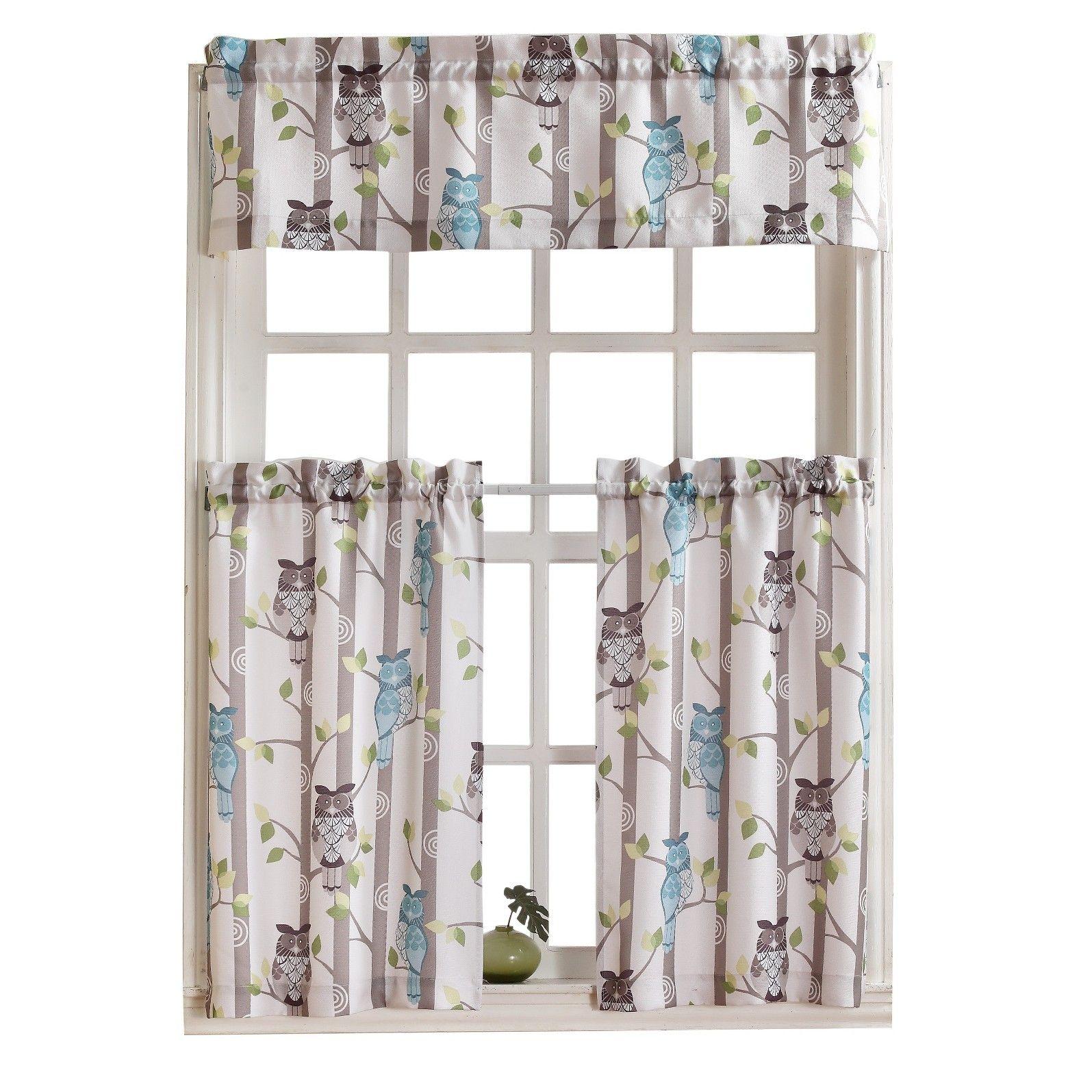 No 918 Owl Kitchen Tier Pair Owl Kitchen Kitchen Curtains Valance Curtains