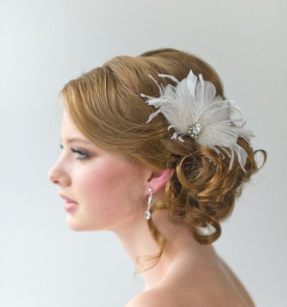 bridal fascinator wedding hair accessory feather head piece wedding feather hairclip ellie via etsy