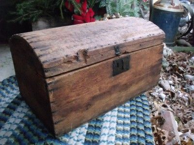 Small Early Rustic Primitive Camel Back Trunk Wood with Forged Iron | eBay