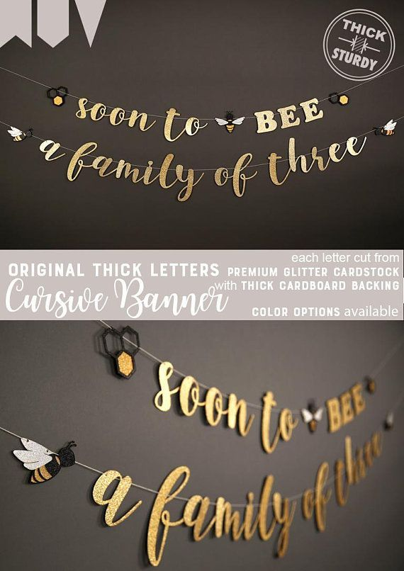 soon to BEE a family of three banner with bee and beehive bee theme Baby Shower banner glitter party decorations