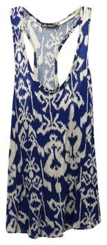 Ella Moss Blue/beige Pattern Racerback Top Blue $24