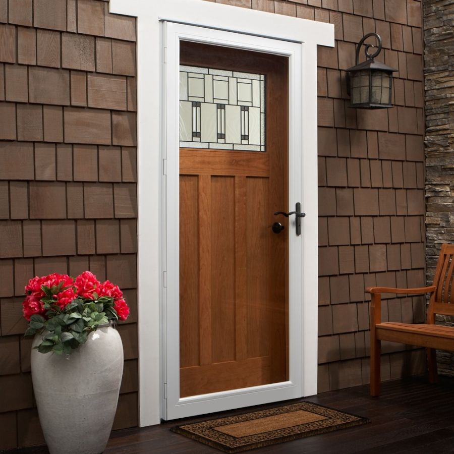 Andersen 36 X 80 Contemporary Fullview Storm Door Color White Hardware Oil Rubbed Bronze Glass Storm Doors Andersen Storm Doors Full View Storm Door