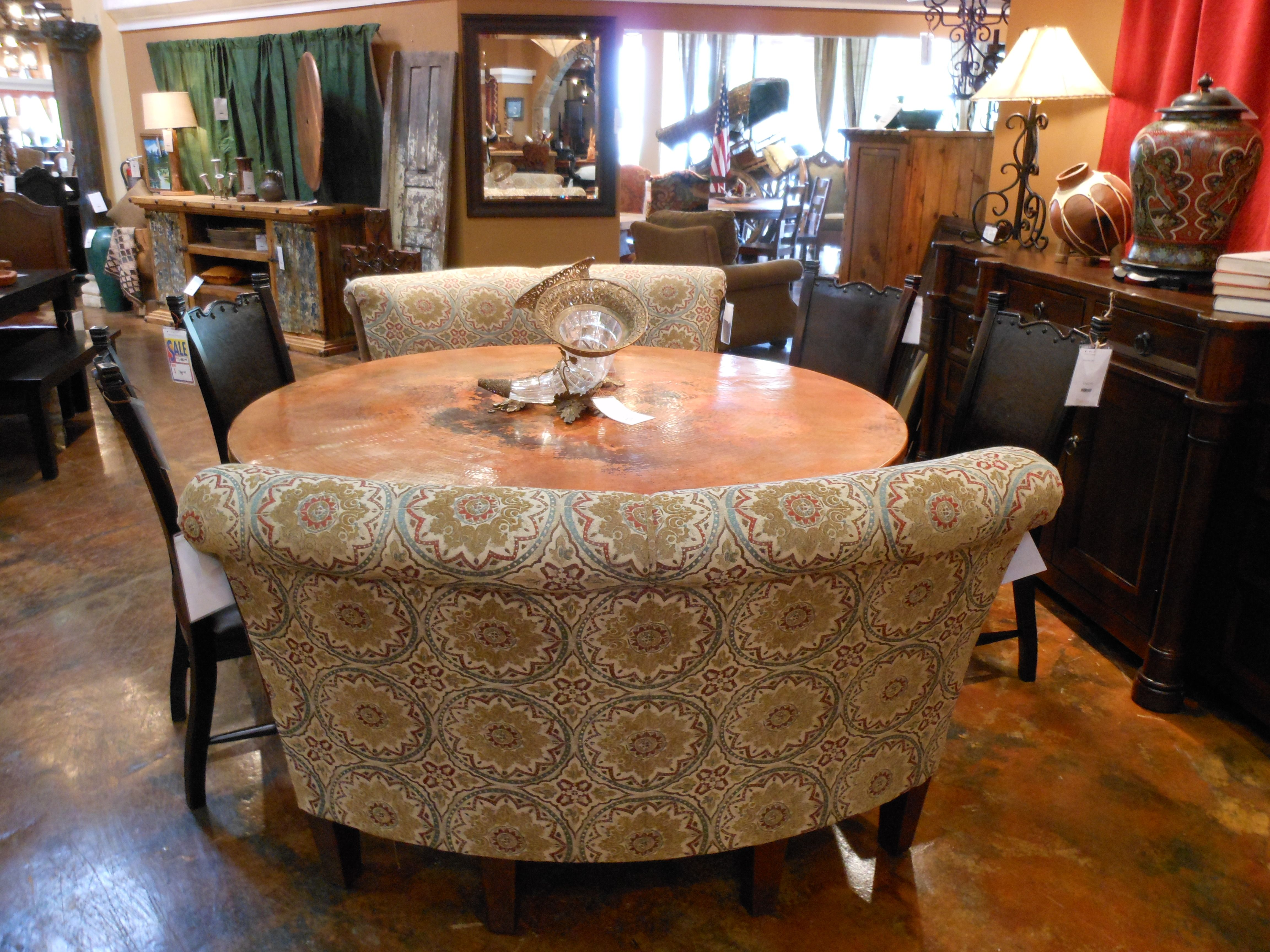 Great New Banquet Benches From Mayo Furniture Of Texarkana Texas With A Copper  Table From Mexico.