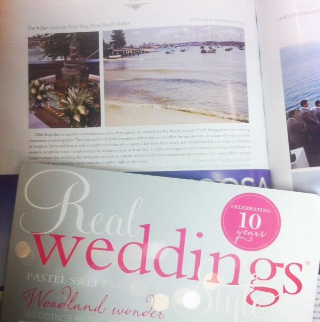 Real Weddings Style Magazine ~ Annual Collector's Edition 2012 / 2013. Page 122. Club Rose Bay's Deck Bar Lounge.