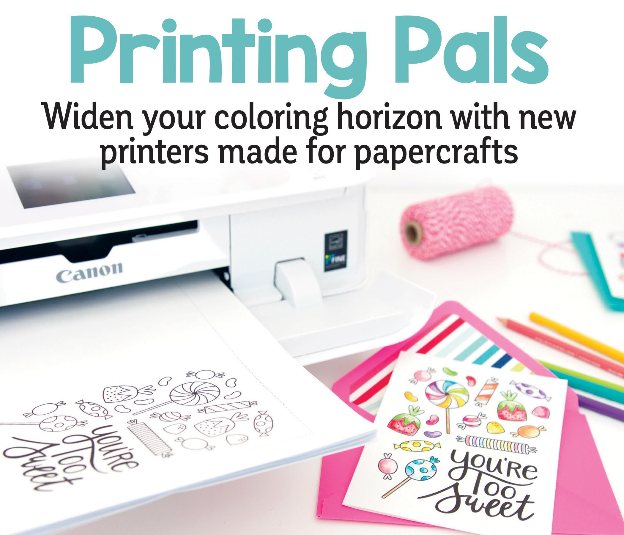Have you had an amazing coloring page design and a special paper or object (such as a gift bag) that was crying out for color, but you couldn't figure out a way to combine them? Well, there's a printer for that! Canon Pixma!