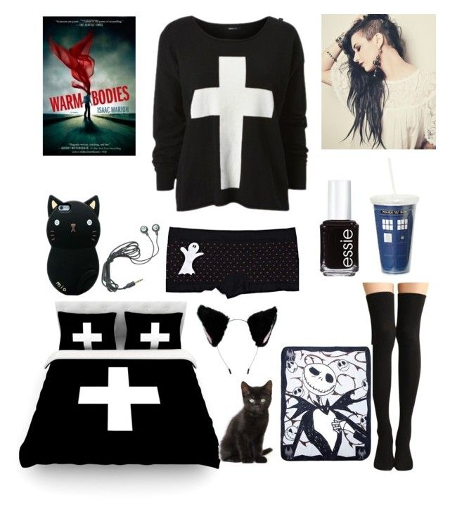 """""""*Lays down on the bed and reads a book* -Nichole"""" by katlanacross ❤ liked on Polyvore featuring L'Agent By Agent Provocateur and Essie"""