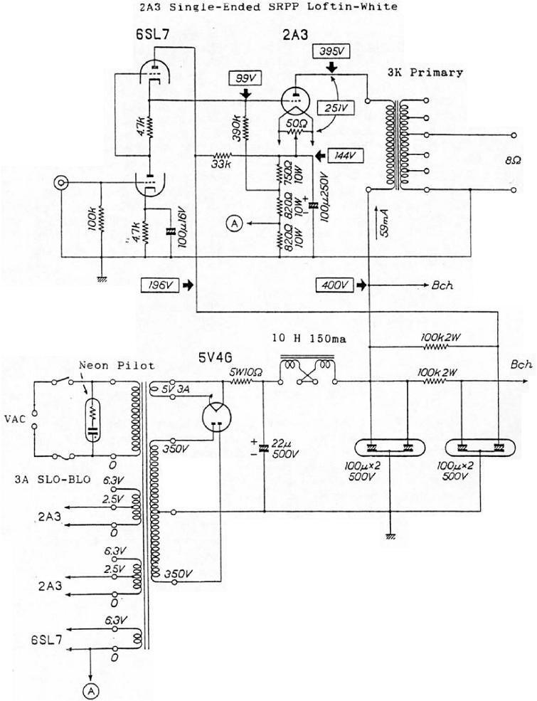 6SL7 CPSR / 2A3 LoftinWhite tubo amplificador Schematic