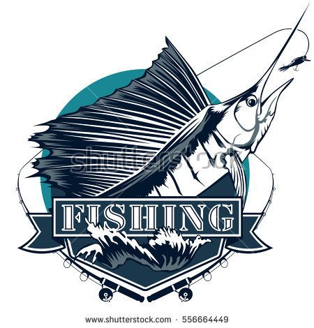 Blue marlin fishing emblem isolated on white. Sail fish logo with lure and  rod. cc15f9ebaa73