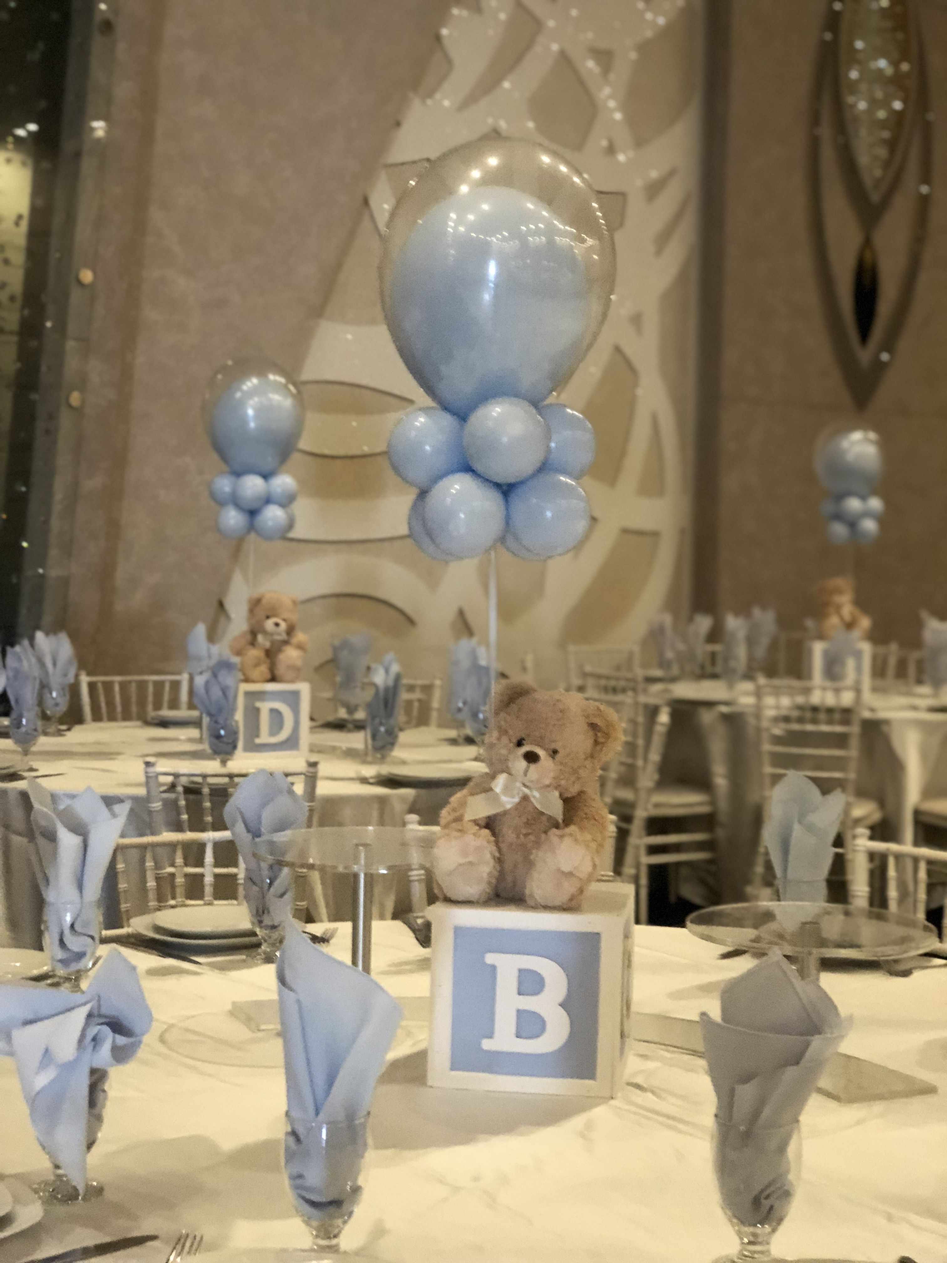 Baby Boy Baby Shower Decorating Tables With Blue Balloons And