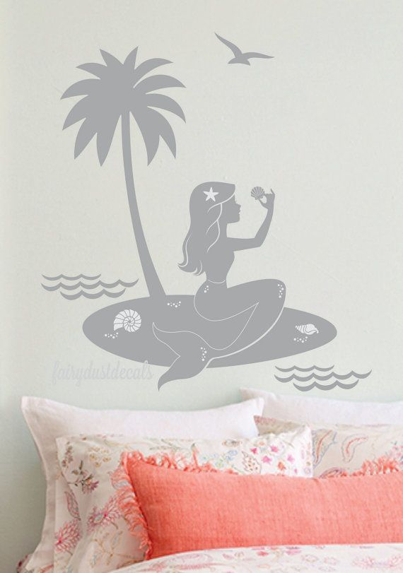 Mermaid Wall Decal With Palm Tree   Little Mermaid Sitting On Island Beach  With Shells