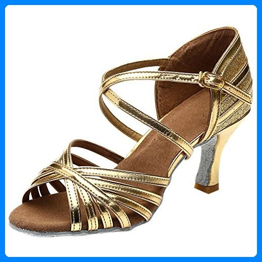Azbro Women's Open Toe Hollow Out Buckle Strap Latin Shoes, Golden  EURO39/US8/