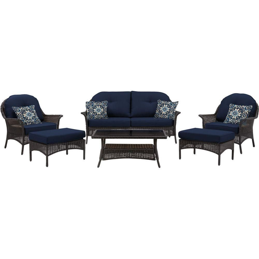 Hanover San Marino 6-Piece All-Weather Wicker Patio Seating Set ...