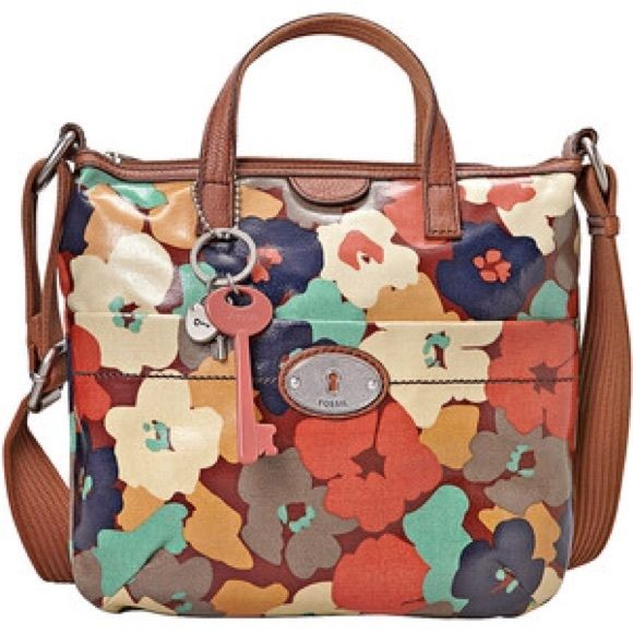 Vintage floral Fossil keyper coated cross-body Lots of room, colorful, cross-body Fossil Bags Crossbody Bags
