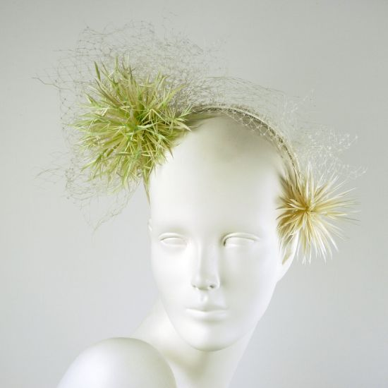 Hedy | Label: Harvey Santos | Spring/Summer 2014, Licorice & Friends Collection | Materials: goose feathers, shredded veiling, duchesse silk | Sweet, delectable and candy-coated hats and headpieces inspired by our little guilty pleasures