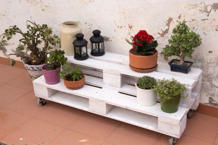 europaletten kreative ideen moebel aus paletten blumenstaender DIY - Wohnzimmer Ideen Zum Selber Machen