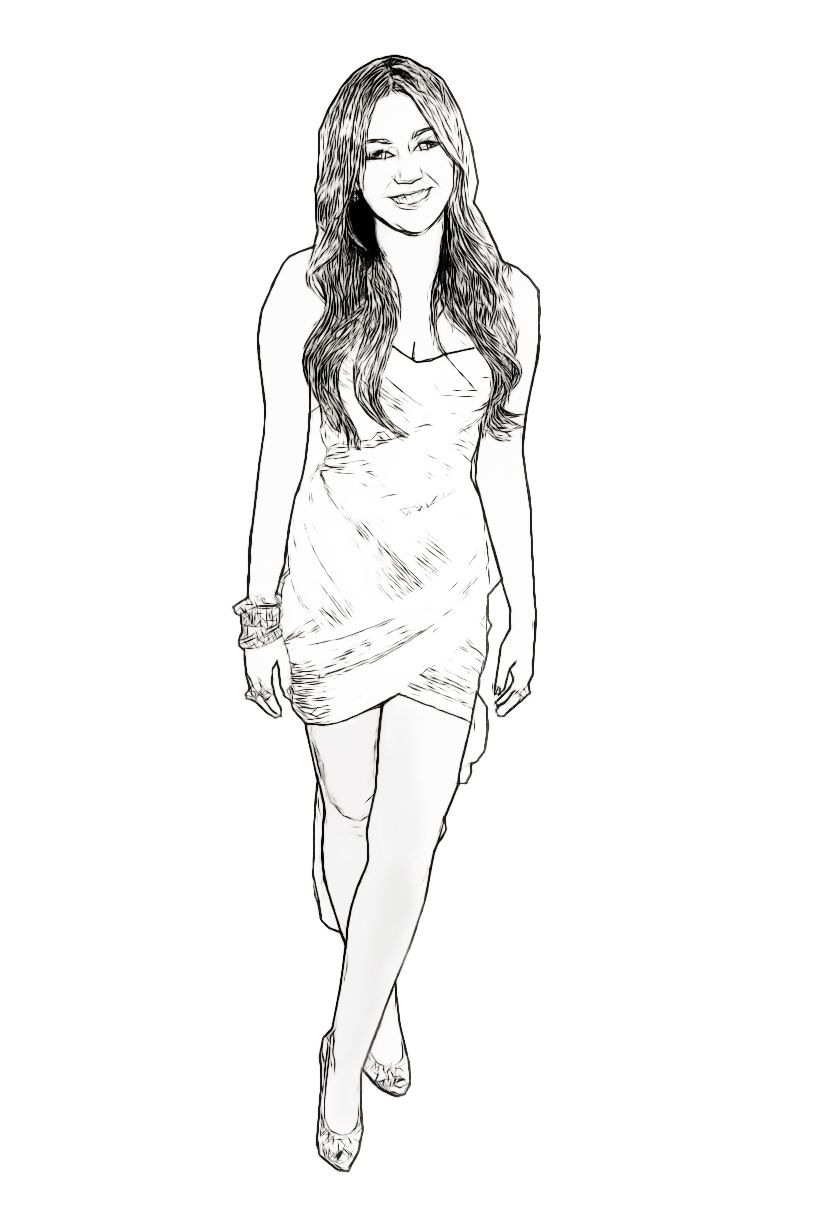miley cyrus celebrity coloring page created by dan newburn art - Celebrity Coloring Pages Print