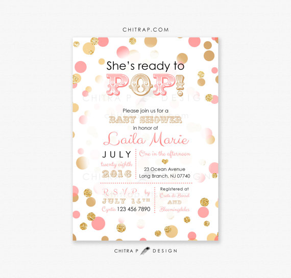 Ready To Pop Baby Shower Invitation Printed Coral Pink Gold Black
