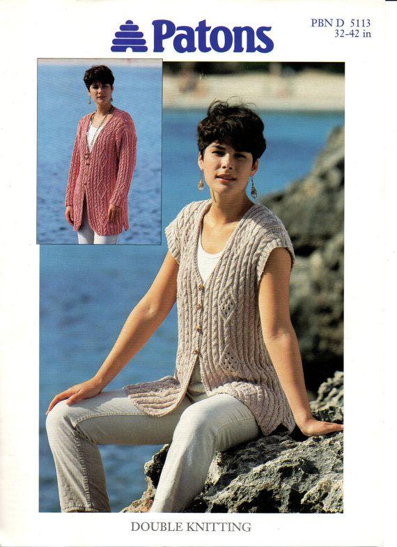 DK Cable Cardigan or Waistcoat Ladies Knitting Pattern Original ...