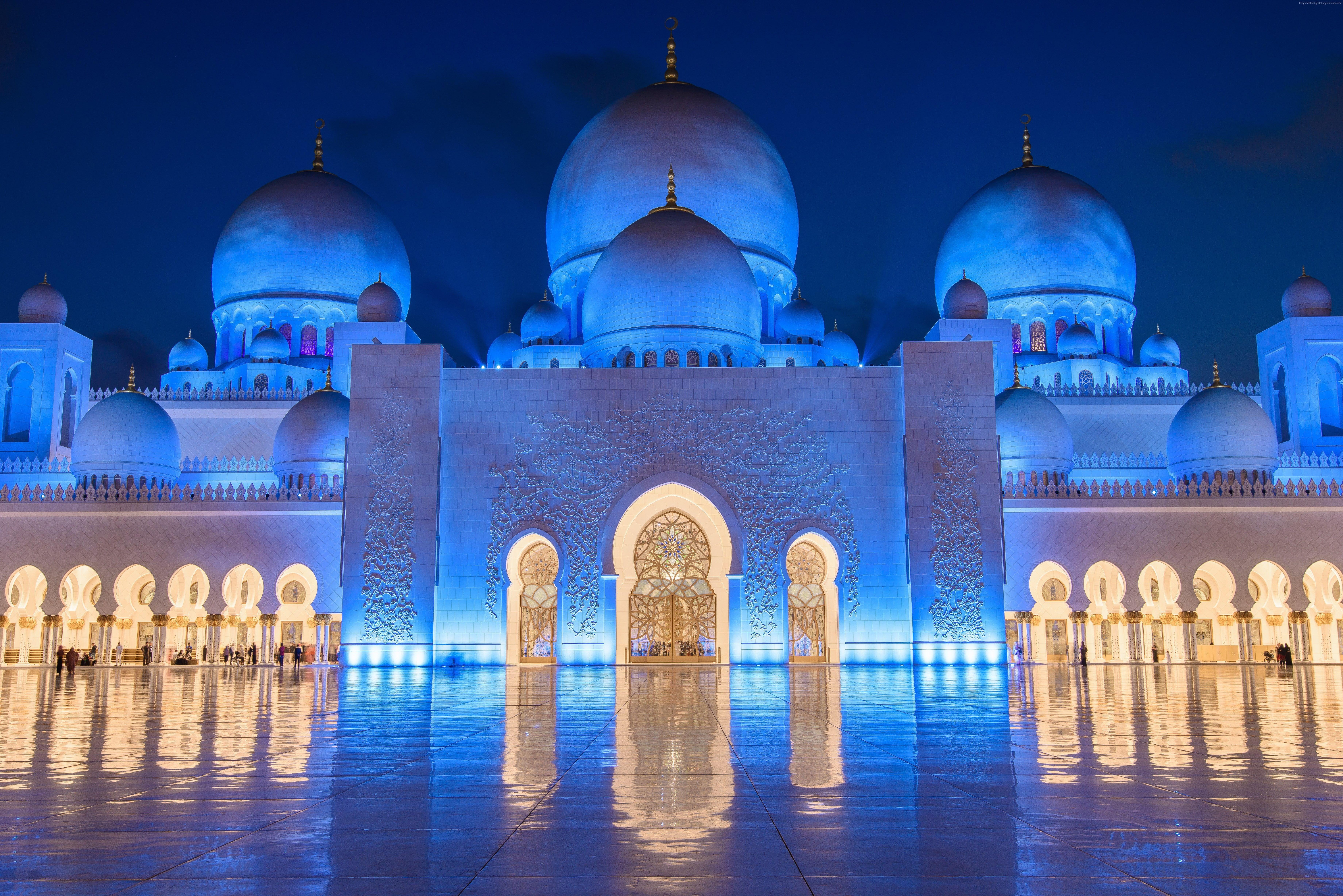 Abu Dhabi 8k Night Sheikh Zayed Mosque 5k Wallpaper Hdwallpaper Desktop Sheikh Zayed Grand Mosque Grand Mosque Mosque