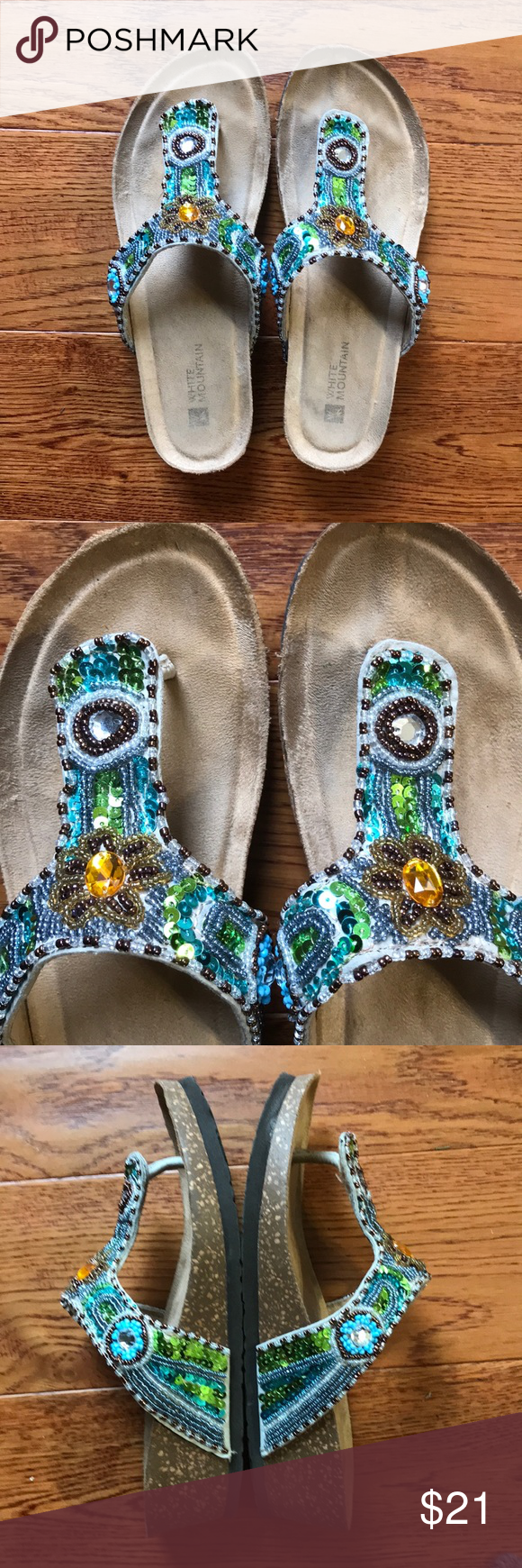 White Mountain Bluejay beaded sandals