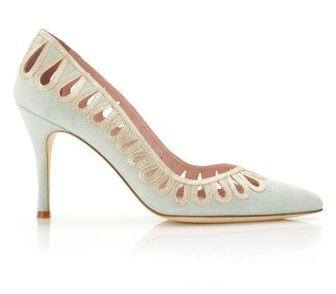 cilla  bridal shoe  mint coloured suede  high heel