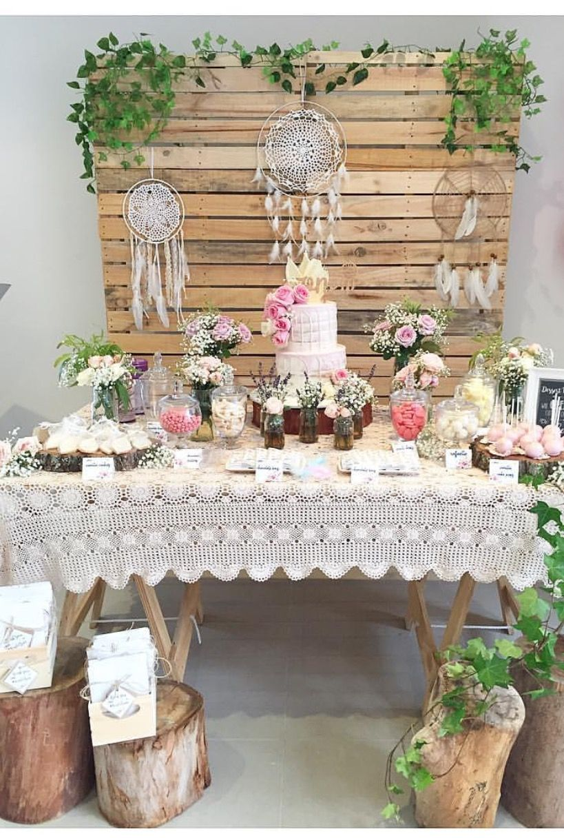 Our pallet wall and wooden trestle table are used in this ...
