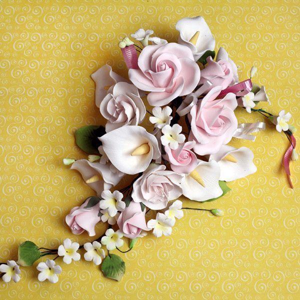 Large Tea Rose Calla Lily Sprays Pink Calla Lily Floral Wedding Cakes Wedding Cake Fresh Flowers
