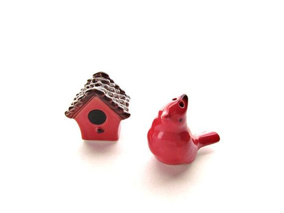 Vintage Ceramic Red Bird and Birdhouse Salt and by ThingsOfOdd