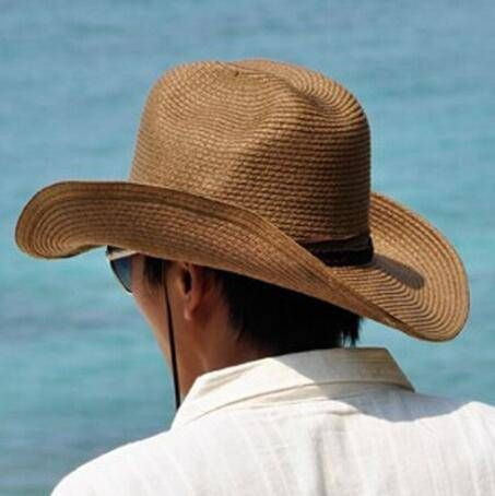West cowboy hat for men summer UV protection straw sun hats  c3b8b77630a2