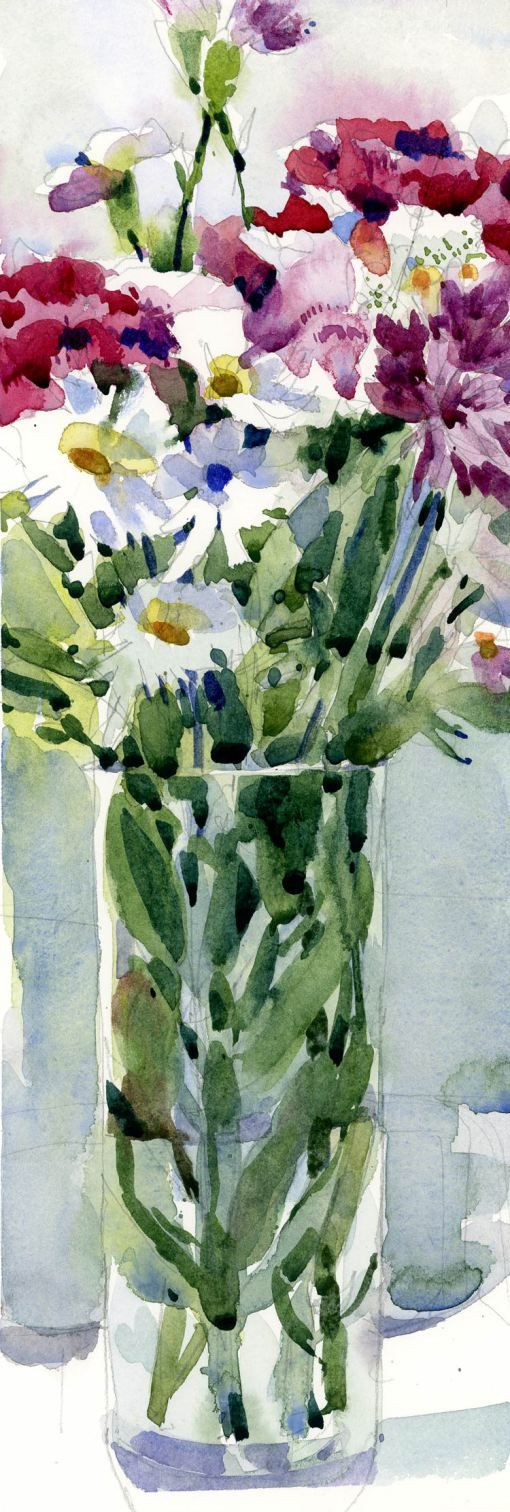 Vertical Watercolor Bouquet - By Shari Blaukopf