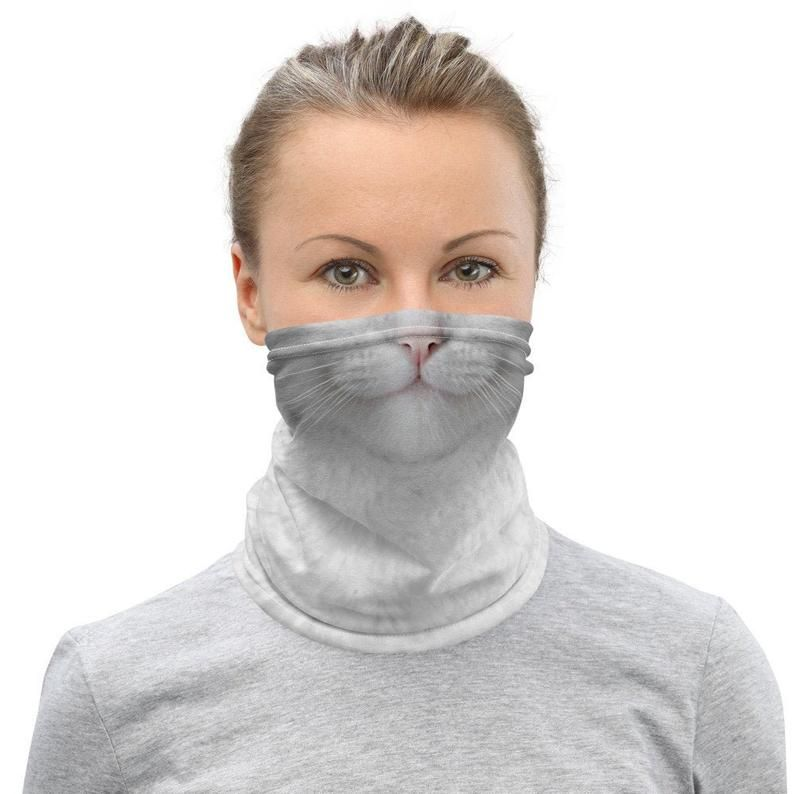 Animal White Cat Face Mask Washable Reusable Cloth Cover In 2020 Cat Face Mask Cat Face White Cat