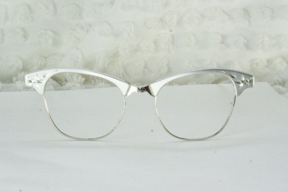 7125359515 50s Cat Eye Glasses 1950s Browline Eyeglasses Aluminum Flower Diamond  Etched White Gold Wire Rim Combination Frame 46 18 Art Craft