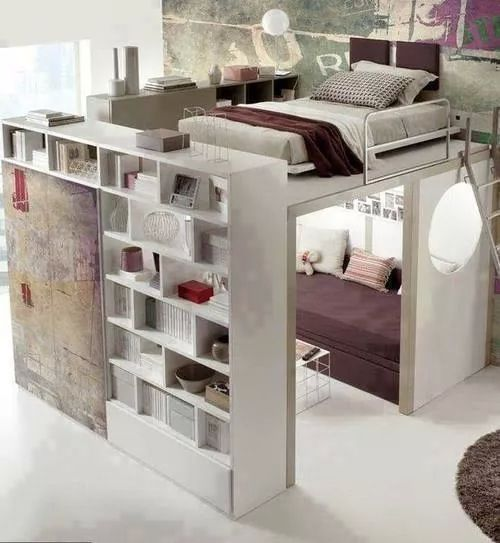 Double decker bed with book shelf and little reading nook ...