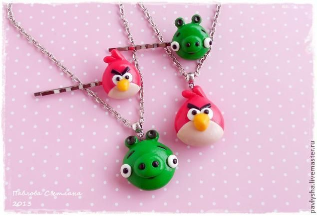Birdie barrettes and Mumps (based on the game Angry Birds)