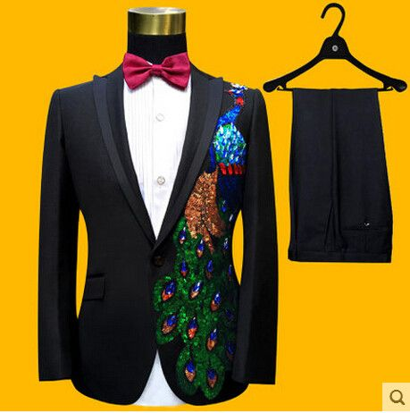 Black Blue Paillette Embroidered Peacock Suits