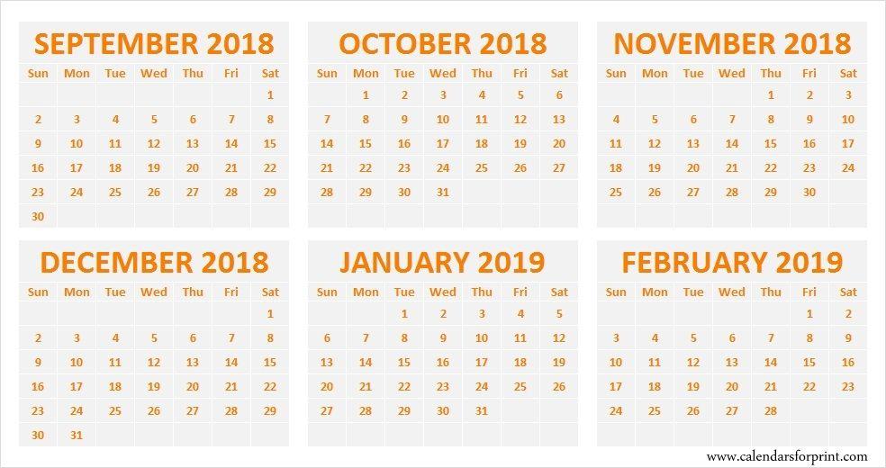 Blank Calendar September October November December 2018 January