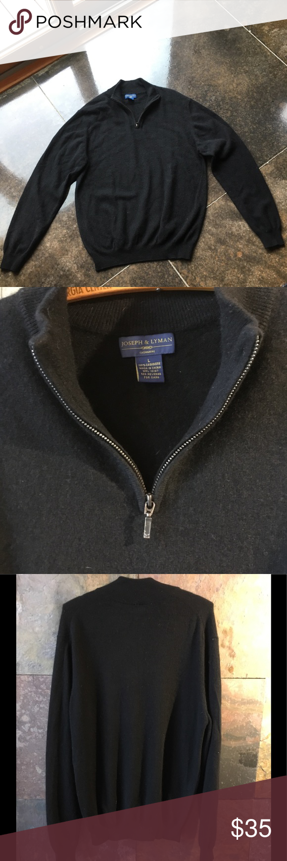 Cashmere sweater with zipper opening men's L Bloomingdales brand ...