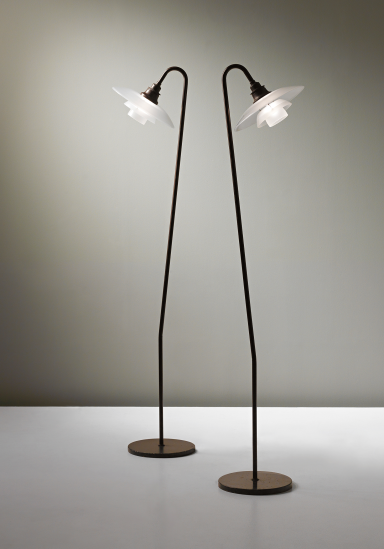 PHILLIPS : UK050313, POUL HENNINGSEN, Pair of standard lamps, 3/2 type shades