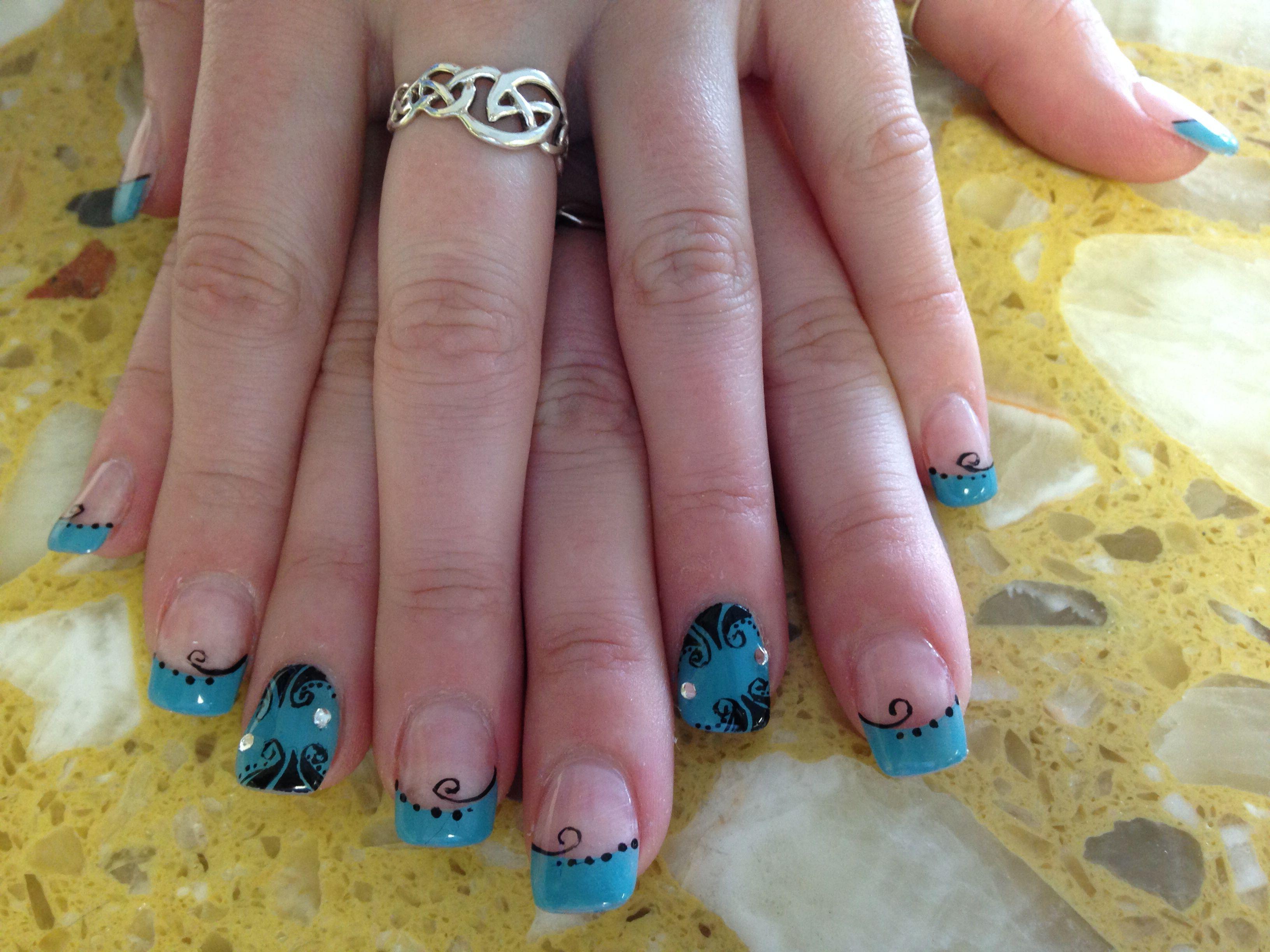 Fancy blue french w nails art design fancy french nails design fancy blue french w nails art design prinsesfo Choice Image