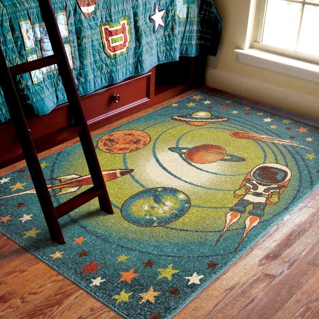 Carolina Weavers Playroom Collection Island Universe Blue Area Rug