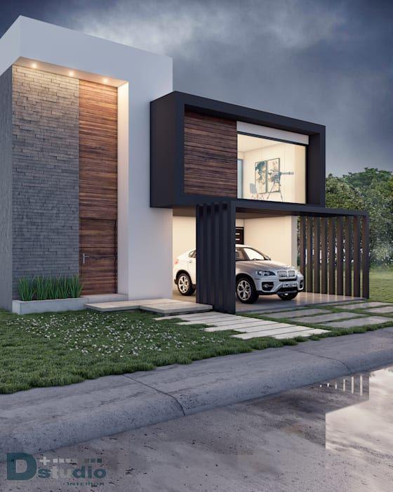 Vista exterior casas de estilo moderno por d studio for Fachadas de casas estilo rustico moderno